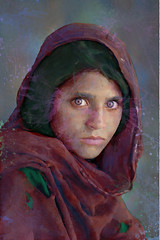 splat (tearomano) Tags: nyc5958 mcs1985002k035 1984 afgrl10001jpg pakistan peshawar afghan afghangirl child eyes face girl green portrait red refugee robe scarf young sharbatgula sharbat gula intheshadowofmountains phaidon phaidon55 portraits southsoutheast lookingeast indoors interior inside tattered nationalgeographic april2002