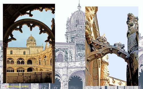 Lisbonne ©Monastère des Jéronimos  cloitre et détail d' arc boutant