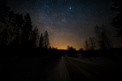 Lonely road (Haapih) Tags: stars milkyway nightphotography astrophotography light lonely finland kiuruvesi countryside landscape
