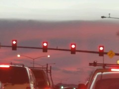 March 8, 2017 - Red lights, red sky at sunset. (Alisa H)