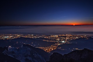 Sunset on the city of Carrara