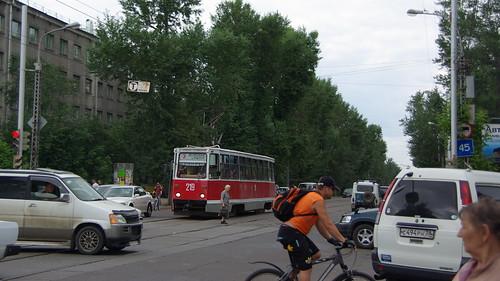 Irkutsk tram street scene 71-605 ©  trolleway