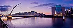 Dublin Docklands Panorama (Barry O Carroll Photography) Tags: dublindocklands dublin ireland samuelbeckettbridge nationalconferencecentre river liffey water quays panorama photostitch night bluehour evening cityscape urbanlandscape city architecture bridge buildings wideangle