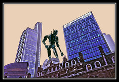 Artificial Intelligence (tim constable) Tags: robot android droid ai artificialintelligence k2so landscape urban city scape scene view timconstable photoshop skyline highrise skyscraper lookdown tall imposing irongiant massive huge domineering seekout lookfor hunter hunt oldandnew juxtapose sciencefiction scifi scout recce seeker office commercial buildings officespace residential neighbourhood architecture architectural glass steel windows penthouse london cityoflondon