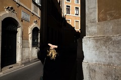 **** (valeriat13) Tags: streetphotography rome shadow hands hair girl black light street candid gr
