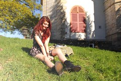 Bérénice (Benjamin Geoffroy) Tags: road street wood city trip red wild woman flower tree cute castle love window nature colors girl beauty smile fashion skinny ginger dc model punk peace dress boots outdoor hipster young hippy free shy redhead lolita benjamin doc marten geoffroy