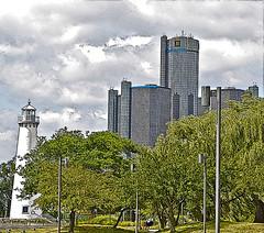 Milliken Light House (dwgibb) Tags: bridge lighthouse canada boat michigan detroit casino greatlakes windsor ceasars detroitriver riverwalk freighter rencen ambassadorbridge gmbuilding millikenstatepark
