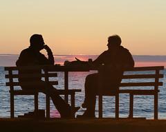 Sunset Conversation (Borderline UK) Tags: sunset silhouette wales aberystwyth elements topaz topazremask dmcfz200