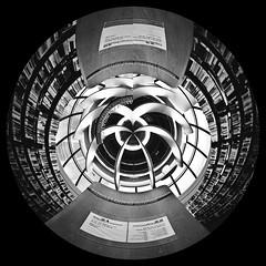 Polar spheres 1 (harley yang) Tags: bw abstract architecture spiral design interior sphere bnw transform polarcoordinates monoart