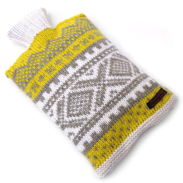 Hand knit Norwegian style hot water bottle cosy – yellow, grey, white