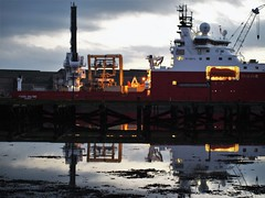 Reflections of Fugro Saltire - Cambois (Gilli8888) Tags: light sunset port coast marine ship harbour dusk northumberland shore maritime northeast cambois blyth staithes