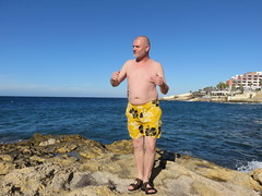 IMG_3403 (griffpops_deptford) Tags: sea beach swimming malta shirtlessmen hairymen smoothmen menatthebeach menwithbeards stpaulsbaymalta menintrunks