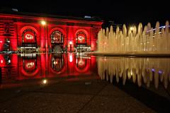 Go Chiefs (KC Mike D.) Tags: fountain kc bloch unionstation visitkc downtown water dazzle red glow chiefs kansascitychiefs reflection missouri nfl