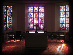 Altar in the crypt of Cathédrale Notre-Dame, Luxembourg (Wagsy Wheeler) Tags: luxembourg luxembourgcity cathédralenotredame cathédrale notredame cathedral notredamecathedral church altar cross stainedglass stainedglasswindow window windows light sunlight crypt