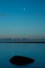 Rock & moon (Janne Räkköläinen) Tags: lake lakesaimaa finland moon sunset landscape bluemoment
