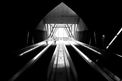 Selnau (maekke) Tags: zürich selnau szu vbz zvv publictransport underground pointofview pov symmetry availablelight woman escalator urban architecture fujifilm x100t streetphotography 35mm ch switzerland 2016 bw noiretblanc