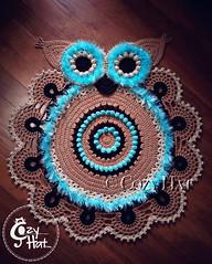 Owl Rug Handmade by Cozy Hat #crochet #pattern #owl #cozyhat (Anastasia wiley) Tags: owl rug crochet handmade brown blue decor kids baby shower nursery decorating interior kitchen knit furniture cozyhat cozy hat beautiful work hand fur