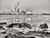 Rock and ship. (Giel Pieter) Tags: rotjeknor rotterdam port portofrotterdam ship water river maas harber panasoniclumixgx7 rock bw offshore