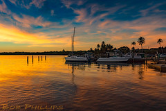 Bokeelia Back Bay Sunset (tropicdiver) Tags: bokeelia florida pineisland backbay boats clouds dock gulfofmexico palmtrees pier pineislandsound sailboats southwestflorida sunset