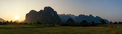 Laos landscape (Martin Häfeli Photography) Tags: landscape laos asia limestone mountains kalkfelsen sunset berge felsen asien nikon d7000 panoramic pano sonnenuntergang 1024mm wideangle wide angle weitwinkel lao beer evening abend sunlight sonne kalkstein travel reisen reise berg ferien holiday world panorama