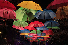 The Norie-Miller Walk in Perth (lucy★photography) Tags: noriemiller walk perth perthshire scotland uk light lit up umbrella umbrellas dark park flying coloured colored