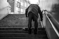 _DSC9205 (Chill Mimi) Tags: chill mimi streetphotography streetsweeper blackandwhite nagano japan stairway manual labour