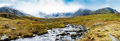 Cwm Idwal, Snowdonia National Park (AtlantisAlex) Tags: snowdonia 16mm raw dslr d3200 nikor nikon wide colour wall laker stream river waterfall nature landscape walking hiking sun sky clouds mountain glacier cwm snowdon wales panorama panoramic