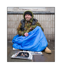Homeless Man, North London, England. (Joseph O'Malley64) Tags: johnnyfingers homeless homelessman camden northlondon london england uk britain british greatbritain bereft begging vulnerable atrisk onthestreet excluded society cold damp wet exposed unhealthyconditions sleepingrough roughsleeper