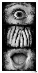 Oh !!! (AngelsPixel) Tags: triptyque monochrome noiretblanc noir blanc black white croqueuse allumeuse tease sexy oeil yeux bouche main eye hand mouth dent teeth levre lip langue tongue cheveu hair etonnement peur stupeur scared afraid fear stupor shock amazement