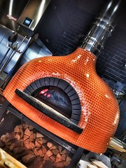Wood-Fired Oven - Via Farina - Omaha, NE (vwcampin) Tags: iphoneography iphoneographer iphonology iphoneology nebraska oldmarket omaha iphone wood fire hot bright pipe vent orange tile pizza food restaurant viaforina woodfired oven