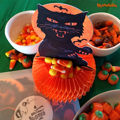 Sticky Claws (bindlegrim) Tags: orange moon holiday green classic halloween blackcat paper graphics colorful artist basket photoshoot candy designer vibrant tissue treats pumpkins ephemera crepe packaging sweets transparent honeycomb bats claws vintagestyle candycontainer bindlegrim
