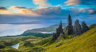 Sunrise behind Old Man of Storr, Isle of Skye, Scotland