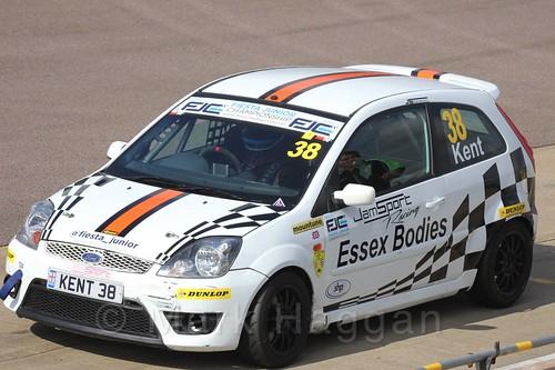 Lewis Kent pits in Race 1, Fiesta Junior Championship, Rockingham, Sept 2015