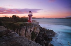 Hornby Lighthouse (cool_blue_83) Tags: ocean longexposure trip travel sunset sea sky sun lighthouse nature water colors set clouds landscape fun rocks waves sydney australia