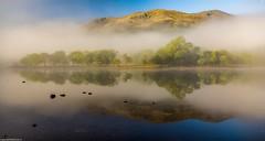Feels like heaven. (AlbOst) Tags: trees misty reflections foggy bluesky calm stillness trossachs lochs lochlubnaig mistymorning greatphotographers d7100 laquintaessenza