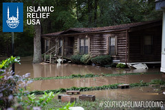 A trailer home was lifted completely and moved by the flooding that happened in South Carolina