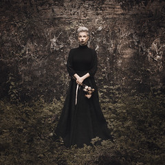 Nastya (ivankopchenov) Tags: flowers portrait black girl forest dark rocks dress stones