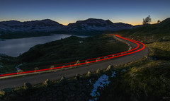 Driving in the mountains - D8D_4220-2 (Viggo Johansen) Tags: road light sunset red mountain lake car evening driving rearlights oldroad haukeli haukelifjell