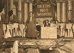 Ethel Smyth at a Women's Social & Political Union (WSPU) meeting, 1912.