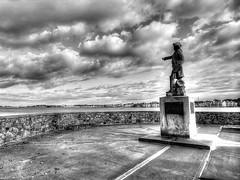 """Rochambeau Commands the Harbor"" (mahler9) Tags: mahler9 jaym november 2015 rochambeau newport rhodeisland ri blackandwhite history historic newengland statue harbor bnw"