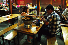 Street Dining, Tianjin, China 08/09/2015 (Gary S. Crutchley) Tags: china street night dark evening long exposure republic nightscape shot nightshot image time olympus peoples after nightphoto prc tianjin province nightimage nightphotograph of epl1