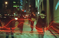 Invasion of electric coccyx people (m_travels) Tags: lightpainting people doubleexposure surreal weird electricity street analog filmphotography lomography800color candid sanfrancisco horror scifi abstract multiple experiment night coccyx tailbone connections noedit sooc