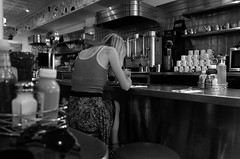 diner life (Eric Baggett) Tags: leicaxvario leica diner santafe newmexico reallife candidlife candidpeople bnw blackandwhite bwphotos noiretblanc monochrome woman ericbaggett