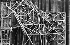 Grainery Works 3 of 3 (Orbmiser) Tags: 70300vr d90 nikon oregon portland winter willametteriver grainery metal structure bw