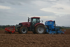 Case IH Puma 225 CVX Tractor with a HE-VA Front Roller 400 Front Press, Lemken Power Harrow & Lemken Solitair 9 Seed Drill