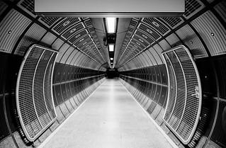 London Underground corridor in black and white