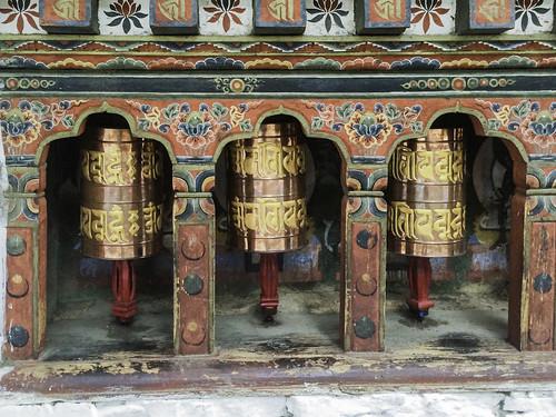 Prayer wheels, Kyichu Lakhang, Paro, Bhutan