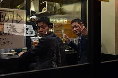 Boys night out (Dominic Sagar) Tags: fujifilm japan restaurant t050 t100 t200 x100s buddies night nightout peace wave chiyodaku tōkyōto jp