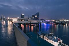 Hamburg harbour (PauliMatze) Tags: hamburg hamburgerhafen hafen harbour elphie elbphilharmonie langzeitbelichtung longexposure lights lichter color colorful colour colourful farben elbe fluss river ship schiff brücke bridge