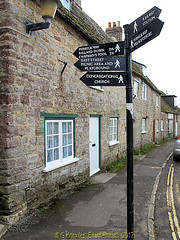 Tourist signs in West Street, Corfe Castle in 2013, in the county of Dorset, England. (samurai2565) Tags: corfecastle castleindorset england purbecks wareham doomsdaybook bankesestate thenationaltrust swanage sandbanksferry studland